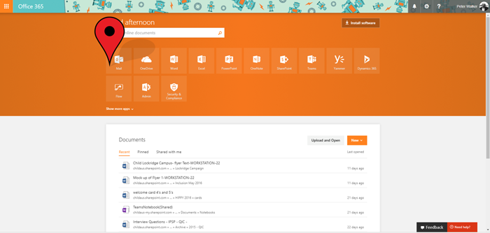 Office 365 Application Screen